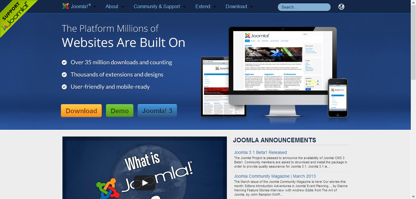Joomla as a content management system
